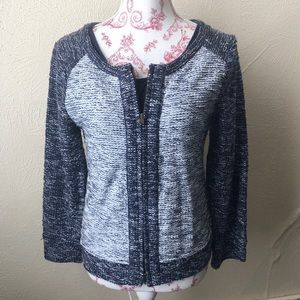 J. Crew Two Toned Zip Up Cardigan S Blue